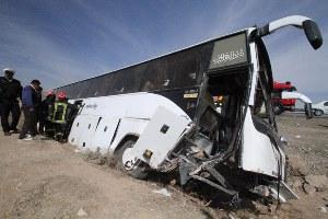 مصدومیت 23 زائر بر اثر واژگونی اتوبوس